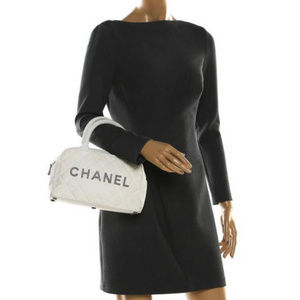 Vintage Chanel Logo Bowler Quilted White Canvas